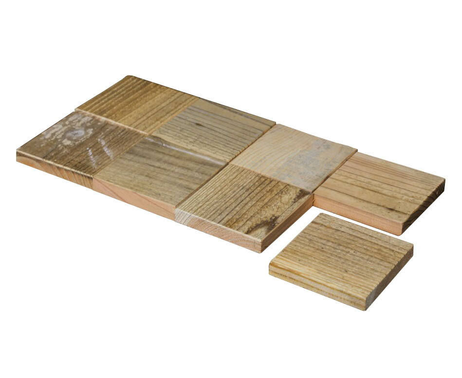 OLD ASHIBA(足場板古材)スクエア木っ端 無塗装【厚みハーフタイプ】15-1S(8個入り) 【小型商品】