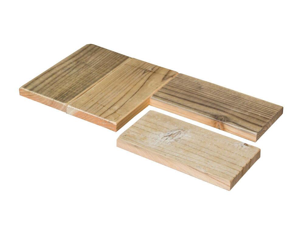 OLD ASHIBA(足場板古材)スクエア木っ端 無塗装【厚みハーフタイプ】15-2S(4個入り) 【小型商品】
