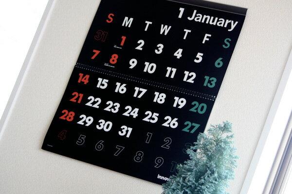 【送料無料】イノベーター innovator 2018年度版、壁掛カレンダー(ウォールカレンダー) Lサイズ/ブラック 【あす楽対応】