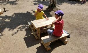 幼児用 木製 ガーデンテーブル セット[ 無塗装] 防腐加工処理済