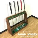 送料無料 ゴルフクラブ スタンド パター 10本用 【色:ブラウン】クラブの収納や、 パターマットの隣に!ゴルフボー…
