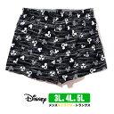 Disney ディズニー ミッキー 和柄 トランクス 3L 4L 5L パンツ メンズ 綿100% 黒 ブラック 可愛い かわいい 下着 キャラクター 大きいサイズ