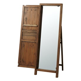 スタンドミラー 幅45cm ブラウン 茶 木製 北欧風 スタンドミラー 全身鏡 姿見鏡 姿見 ジャンボミラー スリムミラー かがみ 壁掛けミラー 立て掛けミラー 鏡 ミラー