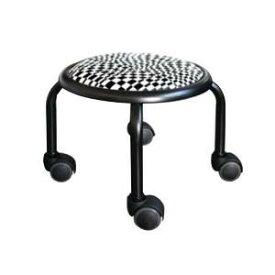 低い 椅子 ローチェア 作業椅子 キャスター付き ガーデニング オフィスチェア キッチン ローキャスター チェック/ブラック