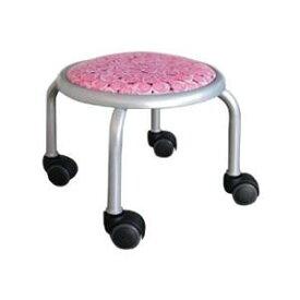 低い 椅子 ローチェア 作業椅子 キャスター付き ガーデニング オフィスチェア キッチン ローキャスター ローズ/シルバー