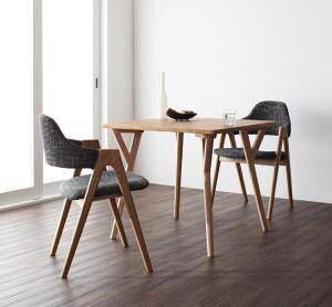ダイニングテーブルセット 2人用 椅子 一人暮らし コンパクト 小さめ ワンルーム おしゃれ 安い 北欧 食卓 3点 ( 机+チェア2脚 ) 幅80 デザイナーズ クール スタイリッシュ ミッドセンチュリー