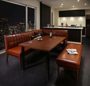 ダイニングテーブルセット 6人用 コーナーソファー L字 l型 ベンチ 椅子 おしゃれ 安い 食卓 レザー 合皮 カウチ 4点 ( 机+ソファ1+右肘ソファ1+長椅子1 ) 幅120 西海岸 ヴィンテージ インダスト
