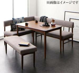 ダイニングテーブルセット 6人用 コーナーソファー L字 l型 ファミレス風 ベンチ 椅子 おしゃれ 安い 北欧 食卓 4点 ( 机+ソファ1+肘ソファ1+長椅子1 ) ブラウン 幅150 デザイナーズ クール スタ