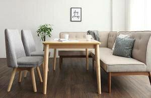 ダイニングテーブルセット 6人用 コーナーソファー L字 l型 ファミレス風 ベンチ 椅子 おしゃれ 安い 北欧 食卓 カウチ 5点 ( 机+チェア2+ソファ1+左肘ソファ1 ) 幅120 デザイナーズ クール スタ