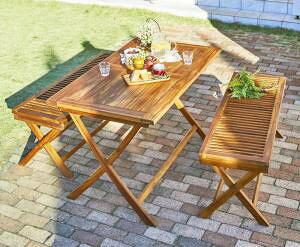 ガーデンテーブル + ガーデンチェア 椅子 セット 屋外 カフェ テラス ガーデン 庭 ベランダ バルコニー アジアン( 3点(テーブル+ベンチ2脚)幅120 )