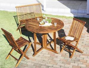ガーデンテーブル + ガーデンチェア 椅子 セット 屋外 カフェ テラス ガーデン 庭 ベランダ バルコニー アジアン( 4点(テーブル+チェア2脚+背付ベンチ1脚)チェア肘無幅110 )