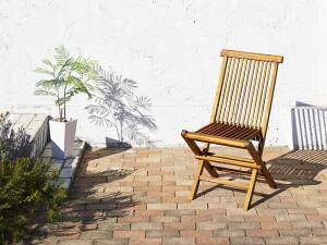 ガーデンチェア ダイニング おしゃれ 椅子 チェア 屋外 カフェ テラス ガーデン 庭 ベランダ バルコニー アジアン ( 2脚 肘無 ) チーク 木製 座面高45 無垢 完成品 背もたれ 板座 ハイバック バ