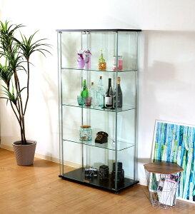 コレクションケース キャビネット ガラス ショーケース アンティーク 薄型 フィギュア ディスプレイ 棚 ディスプレイケース コレクションラック ブラック 幅80 奥行40 高さ162
