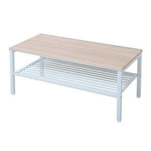 センターテーブル ローテーブル 棚付き ホワイト 白 /ナチュラル 【 木製テーブル 木製 リビングテーブル 応接テーブル ちゃぶ台 ローテーブル センターテーブル コーヒーテーブル ダイニングテーブル 座卓 送料無料 送料込】