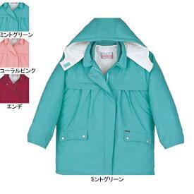 作業着 作業服 防寒着 防寒服 自重堂 560 防寒レディースコート(フード付) 4L・ミントグリーン055