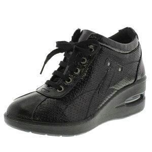 アシックス商事 婦人レディース ウェッジカジュアルスニーカー TABIBIYORI 旅日和 TB-17934 ブラックエナメルヒール 旅先 紐靴