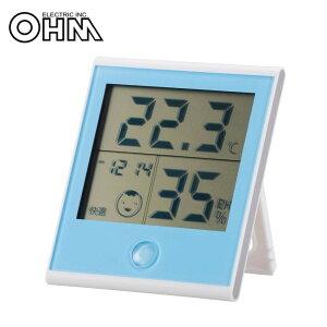 オーム電機 OHM 快適表示・時計付き デジタル温湿度計 ブルー TEM-200-A