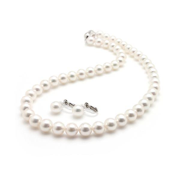 【送料無料】アコヤ真珠 ネックレス オーロラ花珠 真珠セット パールネックレス イヤリングセット 8.0‐8.5mm珠 あこや真珠 真珠科学研究所 鑑別書付き