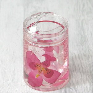 【送料無料】アクリル製歯ブラシスタンド/洗面所用具 【ピンクオーキッド】 造花