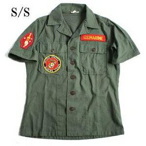 【送料無料】アメリカ軍 OG-107 ファティーグシャツ/半袖 【 14 1/2 Sサイズ 】 柄/MARINE 【 カスタム 】