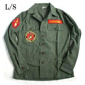 【送料無料】アメリカ軍 OG-107 ファティーグシャツ/長袖 【 13 1/2サイズ :レディースフリー 】 柄/MARINE 【 カスタム 】