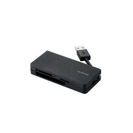 (まとめ)エレコム USB3.0対応メモリカードリーダ(ケーブル収納タイプ) MR3-K012BK【×3セット】
