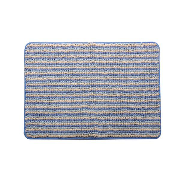 【送料無料】バスマット フロアマット 洗える 抗菌防臭 吸水 部屋干しOK 『プラチナクリーン ナリ』 ブルー 約50×75cm