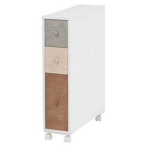 【送料無料】トイレラック/トイレ収納棚 【幅15.5cm】 ホワイト(白) 引き出し:ナチュラルカラー 木製 スリム キャスター付き【代引不可】