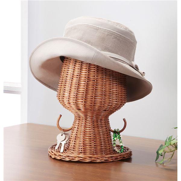 【送料無料】ラタン帽子スタンド(小物掛けフック付き)【代引不可】