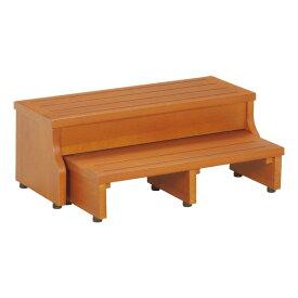 【送料無料】スライド式 ステップ/玄関台 【2段】 ブラウン 幅60cm 下段収納可 脚付き 木製 『フィット』【代引不可】