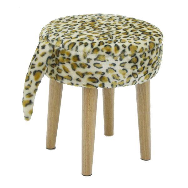 【送料無料】どうぶつスツール(動物柄丸椅子) zoo 【豹/ヒョウ柄】 木製脚 シッポ付き