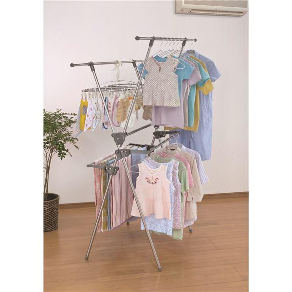 【送料無料】ステンレス室内用物干しスタンド/洗濯物干し 【2段式】 折りたたみ可 大容量 ワイドサイズ