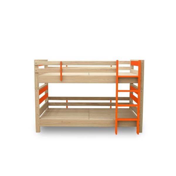 【送料無料】防ダニ 防カビ 抗菌 国産ヒノキ材二段ベッド (フレームのみ) シングル オレンジ 日本製ベッドフレーム 木製 シングル使用可【代引不可】