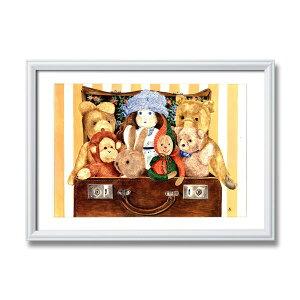アンジェラ・シマンドソン絵画額■白いフレーム・人形の絵・風景画「スーツケース」
