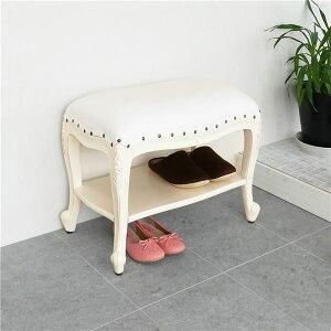 【送料無料】アンティーク風 棚付きベンチスツール ホワイト ベンチ スツール 玄関椅子 腰掛 天然木 白