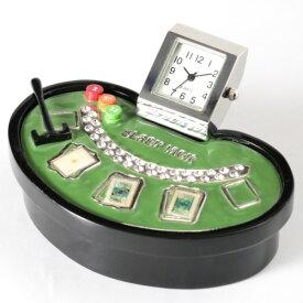 【送料無料】ミニチュア置時計 カジノ ブラックジャックテーブル/MC-C3413