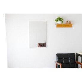 【送料無料】スリムミラー/姿見鏡 【長方形 ホワイト】 壁掛け 幅47×82cm 天然木フレーム シンプル 日本製 〔玄関 廊下 居間 寝室〕【代引不可】