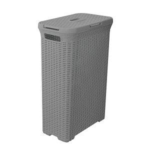 【送料無料】ラタン風 ランドリーバスケット/洗濯かご 【グレー】 幅44.5cm 蓋付き 横開き・縦開き対応 『アミーランドリーボックス』