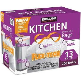 【送料無料】KIRKLAND カークランド ひも付きゴミ袋 キッチンバッグ 200枚 大容量 ひも付き 簡単 ゴミ袋 コストコ袋 便利