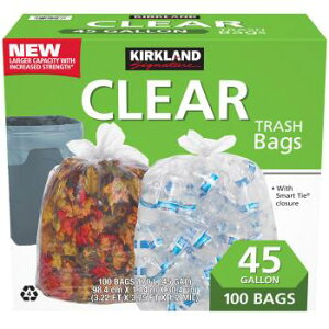 KIRKLAND カークランド ひも付きゴミ袋 170L x 100枚 透明 掃除 大容量 コストコ Costco