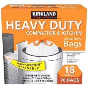 KIRKLAND カークランド ひも付きゴミ袋 68L x 70枚 白 掃除 大容量 コストコ Costco