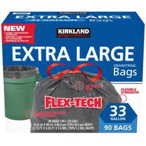 KIRKLAND カークランド ひも付きゴミ袋 124L x 90枚 黒 掃除 大容量 コストコ Costco