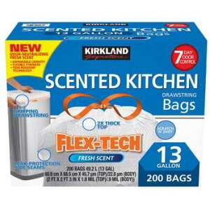 カークランドシグネチャー ひも付きゴミ袋 香り付き 49L x 200枚 Kirkland Signature Scented Kitchen Trash Bag 49L x 200 sheet
