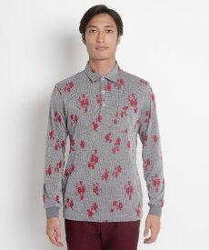 adabat(Men)(アダバット(メンズ))グレンチェック×リーフモチーフ長袖ポロシャツ