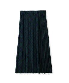 INDIVI(インディヴィ)[S]【ハンドウォッシュ】タータンチェック切り替えプリーツスカート