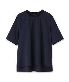 INDIVI(インディヴィ)リブつきTシャツ風ブラウス