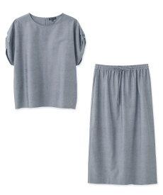 INDIVI(インディヴィ)「L」【WEB限定】肩タックスリーブ×タイトスカート セットアップ