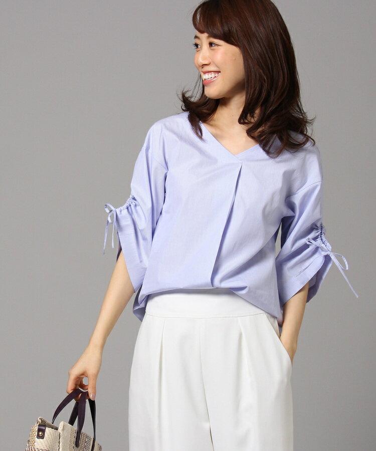 UNTITLED(アンタイトル)[L]【洗える】シャーリング袖ストライプシャツ