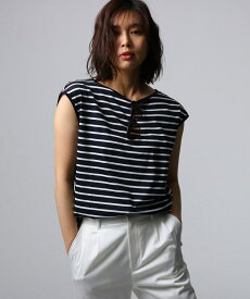 UNTITLED(アンタイトル)[L]【洗える】アリオリティ ボーダーフレンチTシャツ