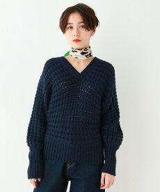 OZOC(オゾック)袖ロングリブ/ワッフル編み風ざっくりVネックニット